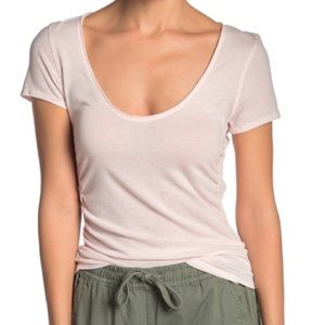 • NWT free people sonnet cotton tee blush pink •